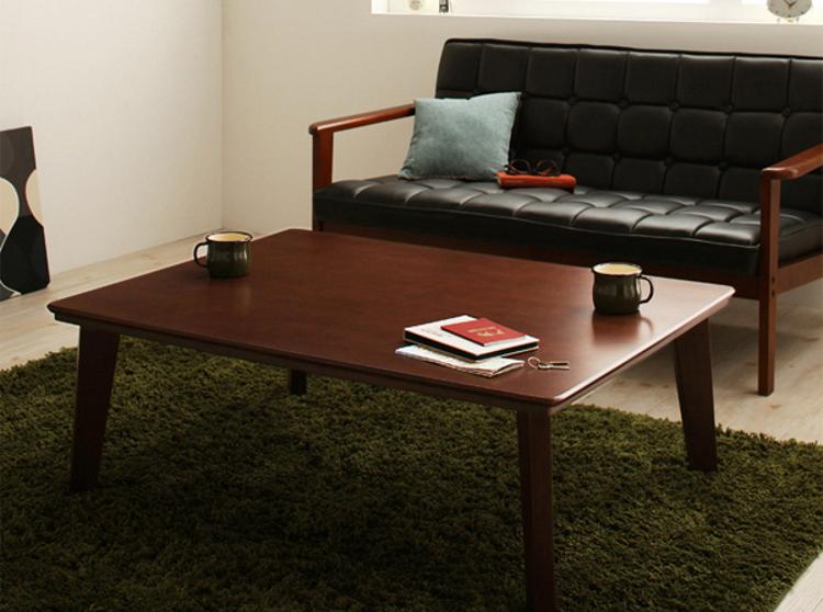 木肘ソファと相性が良い木目こたつテーブル