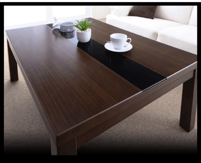 センターガラス木目調こたつテーブル