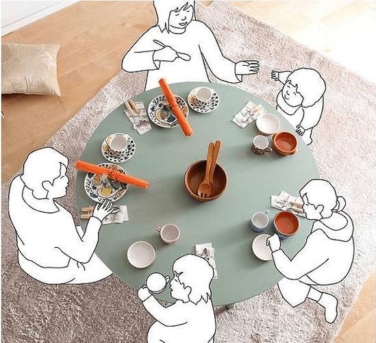 4人家族で使う丸型こたつテーブルのイメージ
