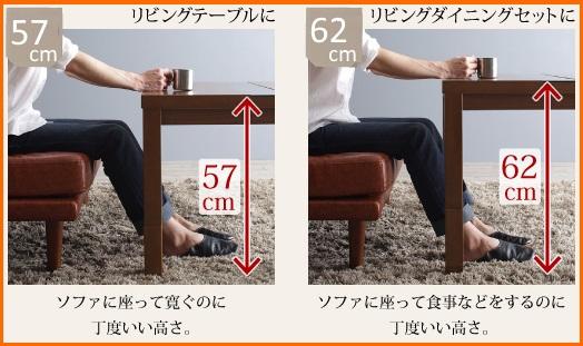 高さ60cmくらいのこたつテーブルの使用例