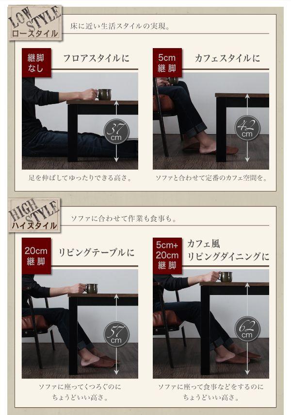 Imagiwood 高さ調節4段階活用図