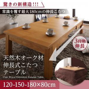 オークナチュラル 天然木オーク材伸長式こたつテーブル Widen-α ワイデンアルファ