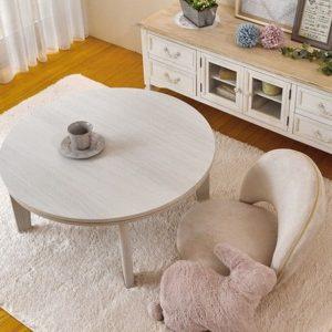 丸型こたつテーブル白