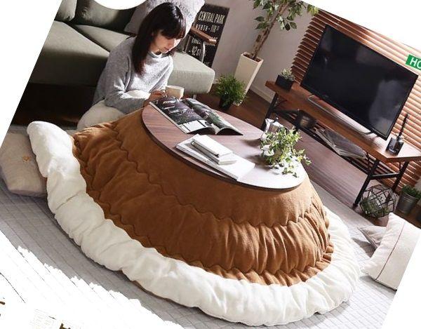 お洒落な丸型こたつは一人暮らしの部屋に最適!